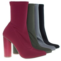Elssa1 By X2B, Pointy Toe Ankle booties W Stretchy Upper & Rounded Block Heel