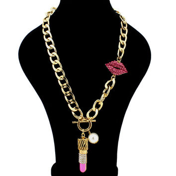 Red Lip Metal Chain Necklace