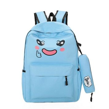 Boys bookbag trendy Cute Cry Face School Backpacks Boy And Girl  Female Laptop luggage Travel Notebook Backbag Nylon Student Bag Set Rucksack AT_51_3