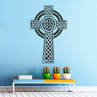 Irish Celtic Cross Wall Decals Vinyl Stickers- Antique Celtic Cross Wall Decal- Irish Wall Cross Decor Living Room Bedroom Dorm Decor Z825