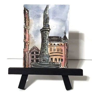 Watercolor landscape ACEO, original art, Desk Art, Architecture ATC painting, artist trading card, pen and ink, Europe, gift idea