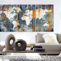 "LARGE 30""x 60"" 3 Panels Art Canvas Print World Map Texture Abstract Orange light blue Wall  Decor home office interior (framed 1.5"" depth)"