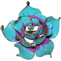 """3 X 3"""" Enameled Flower Ring with Crystal Rhinestone Accents, in Turquoise with Silver Tone Finish"""