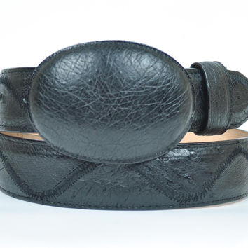 Gavel Men's Handcrafted Black Ostrich Leather Belt & Western Buckle