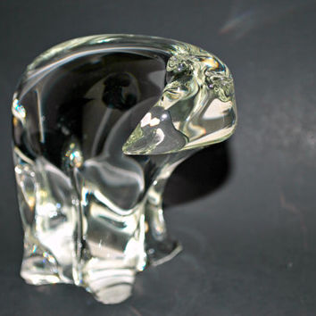 Crystal Polar Bear Paperweight , Art Deco figurine ,  vintage art glass