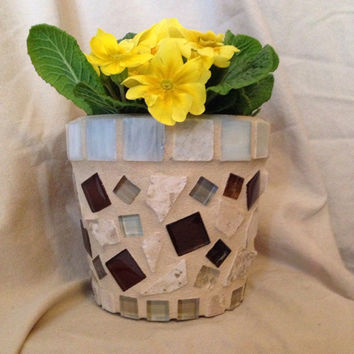 Flower pot, indoor planter, handmade mosaics, outdoor patio, garden, home decor, housewarming gift, accent piece, home and garden,