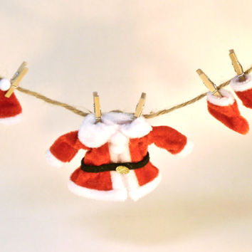 Fairy Garden Clothesline Santa Clause Suit, Hat, Shoes Miniature Christmas Decoration