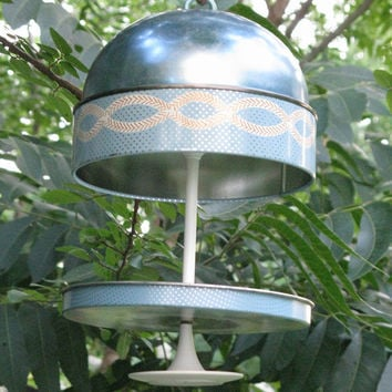 Vintage Retro 1950s 60s Sky Blue Floral Candy Tin Bird Feeder Repurposed Upcycled