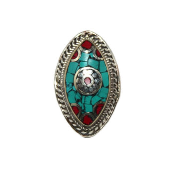 Tibet coral turquoise ring