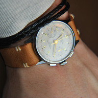 ARMY leather Watch Strap - Oiled Natural Olive Oil Tanned Leather