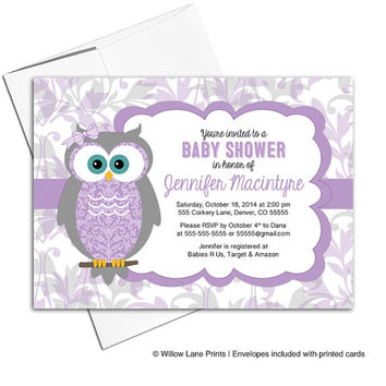 Baby girl baby shower Invitations with owls | gray purple baby shower invitations | owl baby shower invites | printable printed - WLP00730