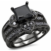 Victoria Wieck Princess cut black Topaz simulated diamond 10KT Black Gold Filled Bridal Engagement Wedding Ring set Sz 5-11 Gift