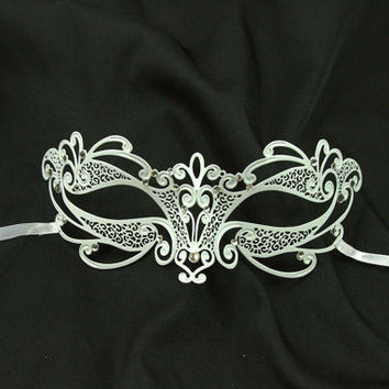 White Masquerade Mask - Wedding Collection - Elegant Metal Filigree Laser Cut Masquerade Mask