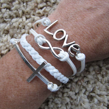 Made in the USA - Cross Love Infinity White Friendship Charm Bracelet