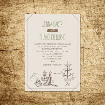 Printable Wedding - Camp Etsy II - hand drawn Invitation with tent, love campfire and trees - Camping - Woodland - Hiking