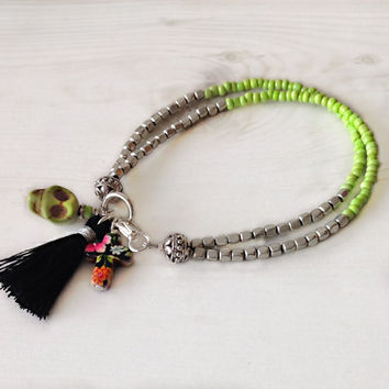 Tassel bracelet, double strand bracelet, charm bracelet, friendship bracelet, sugar skull, day of the dead, hippie jewelry, boho bracelet,
