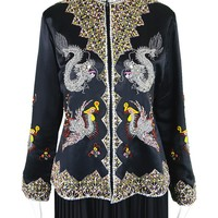 Asian Hand- Beaded Silk Satin Jacket, 1960s