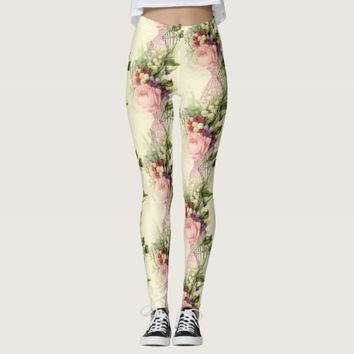 Vintage French Floral Dress Forms Leggings