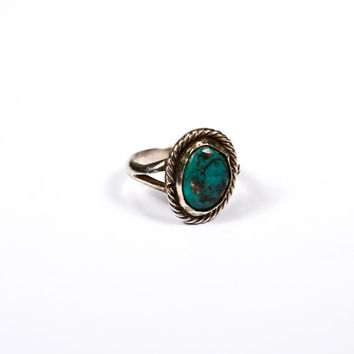 Turquoise Sterling Silver Ring, Artisan Made, Southwestern, Boho, Mexico, Ring Size 6