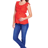 Maternal America Ruffle Layer Gauze Maternity Top