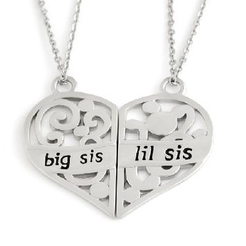 "Sisters Heart Necklace, Sisters Necklaces Set (2pcs), Big Sis Lil Sis Pendant, 18"" Chains Included"
