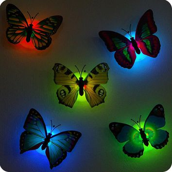 5PCS Self-adhesive butterfly shape decorative night light wall lamp baby bedside lights Indoor lighting home decor
