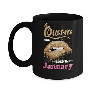 Lipstick Black Queens Are Born In January Birthday Gift Mug
