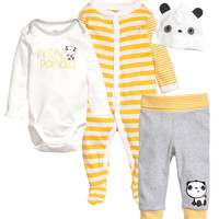 H&M - Cotton Jersey Set - White - Kids