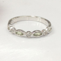 Marquise Peridot Diamond Wedding Band Half Eternity Anniversary Ring 14K White Gold
