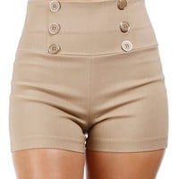 Mocha High Waisted Button Shorts