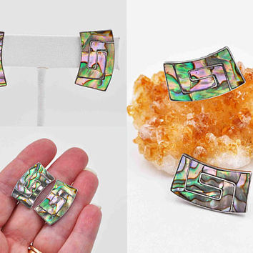 Vintage Taxco Sterling Silver Abalone Earrings, Mexico, Inlaid, Maze, Curved, Screw Back, Signed, Eagle, 1950s, Vibrant! #c193