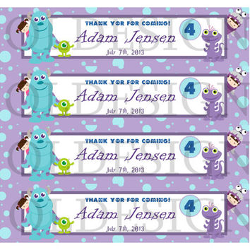 Monsters Inc water bottle label. Birthday party. Custom Digital file
