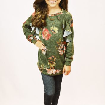 floral ruffle top - olive