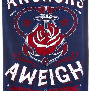 Anchors Aweigh Large Beach Towel - Tattoo Art Anchor and Rose Beach Towel