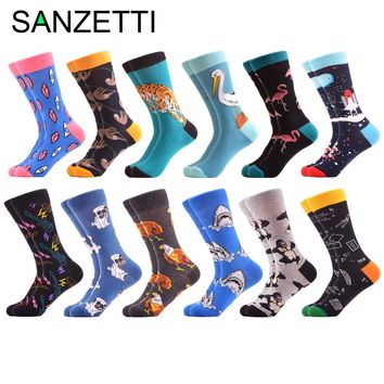 SANZETTI 12 pairs/lot Funny Combed Cotton Brand Men's Crew Socks Novelty Dog Shark Pattern Colorful Dress Causal Wedding Socks