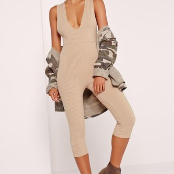 Missguided - Ribbed Sleeveless 3/4 Leg Unitard Jumpsuit Camel
