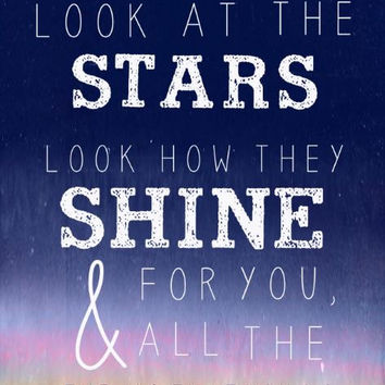 "Coldplay ""Yellow"" Typography Print - Coldplay Lyrics- Look at the Stars - Look How They Shine for You - And All the Things That You Do"