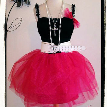 XS High Waisted Adult Teen Tulle Tutu- 80s Prom Dress- Carrie Bradshaw- Hot Pink- Corset- Outfit Complete w Accessories- Dance Team