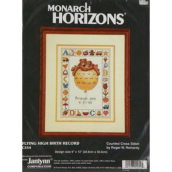 Flying High Birth Record Baby - Counted Cross Stitch Kit - Janlynn
