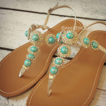 New Turquoise Stone Silver Sandals Rhinestone Teal Gems Pretty Summer Fashion