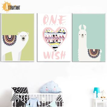 Bear Heart Llama Nordic Posters And Prints Wall Art Canvas Painting Wall Pictures For Kids Bedroom Baby Boy Girl Room Home Decor