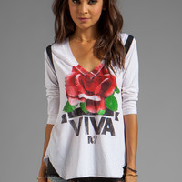 Rebel Yell Viva Rose Football Tee in White from REVOLVEclothing.com