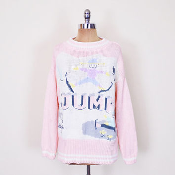 Pastel Pink Ugly Christmas Sweater Xmas Sweater Party Contest Ski Sweater Novelty Print Sweater Oversize Sweater 80s Sweater Women S M L XL