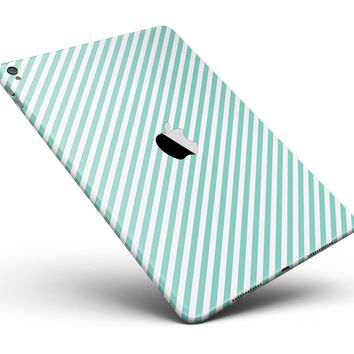 """The Mint and White Vertical Stripes Full Body Skin for the iPad Pro (12.9"""" or 9.7"""" available)"""