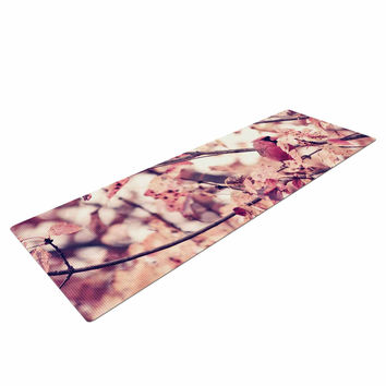 "Qing Ji ""Angry Bird in Fall Leaves"" Orange Nature Yoga Mat"