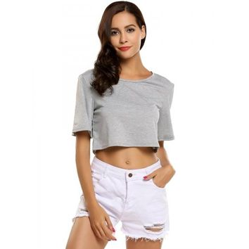 Short Sleeve Solid Loose Sports Crop Tops