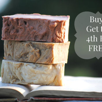 4th July Sale, SALE, Homemade Soap Sale, Buy 3 get 1 Bar FREE, Natural Soap, Four Sisters Farm Soap, Soap Deal,