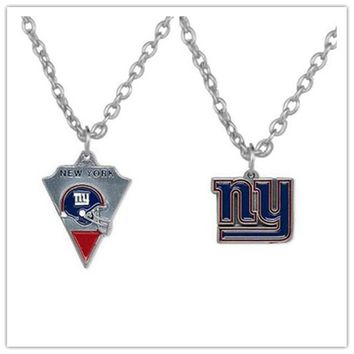 2 Style Alloy Sports Enamel Football Team New York Giants Pendant Necklace With 500+50mm Chain For Men & Women 20pcs/lot