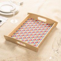 Cool Water colors patchwork texture Serving Tray