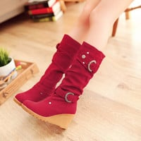 Mid Calf Motorcycle Boots Platform Wedges Round Toe Women Shoes